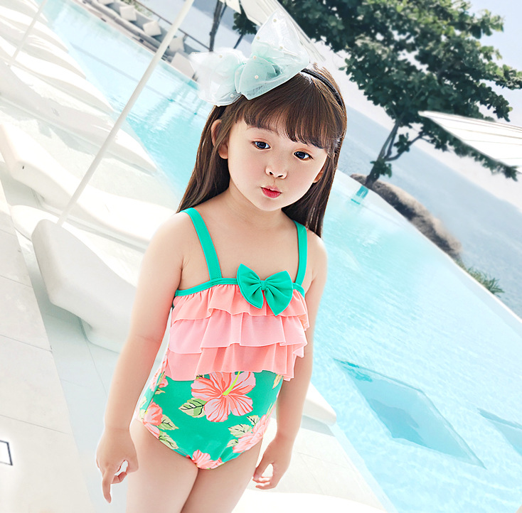 2019 New Style Green Orange Broken Flower Princess One-piece KID'S Swimwear Baby Children GIRL'S Hot Springs Students Swimwear