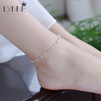 New Classic Simple Small Round Ball Bead Anklets Foot Chain For 925 Sterling Silver Ladies Foot Anklet Bracelet Women Jewelry 1