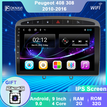 OKNAVI 9'' Android 9 Car Multimedia Player For Peugeot-308 308W 408 2010-2016 Car Radio Head Unit Stereo Navigation 2 Din No DVD image
