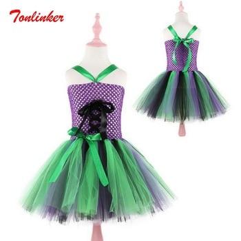 Halloween czarownica mag cosplay tiulowa spódnica tutu dla dzieci odzież dla dzieci Halloween boże narodzenie wydajność sukienka suknia balowa