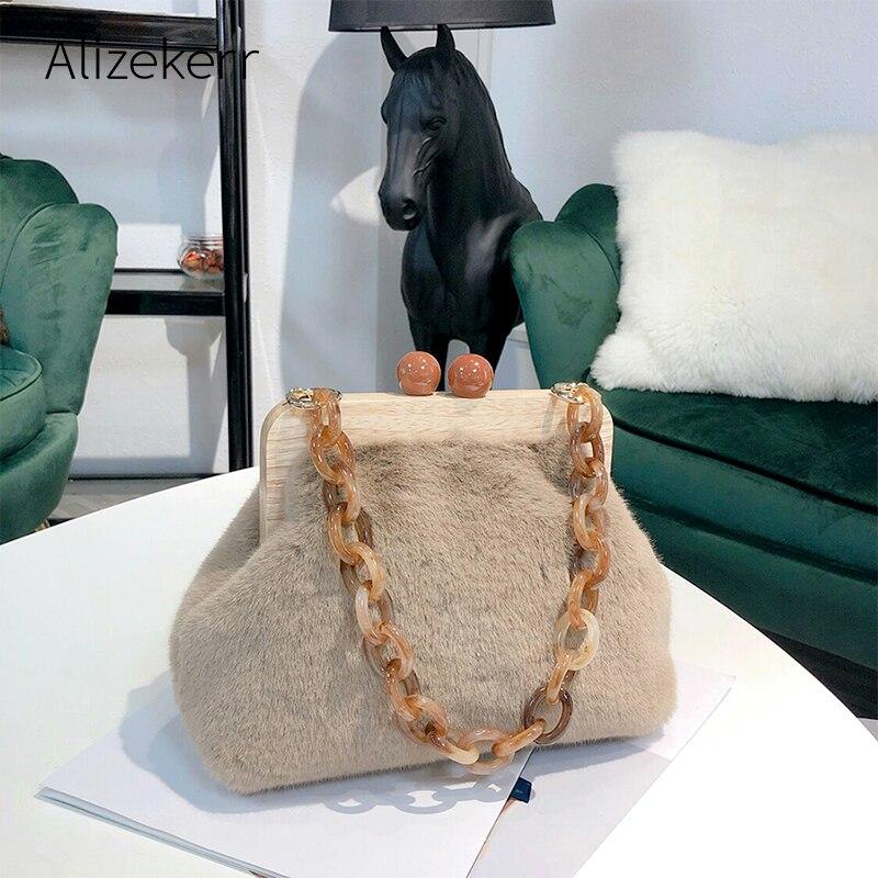 Acrylic Wooden Clip Handbags Women Designer Chic Leopard Print Evening Shoulder Bag Ladies Fur Clutch Purse Party High Quality