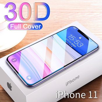 30D Full Cover Tempered Glass For iPhone 11 Pro Max Glass X XS Max XR Screen Protector Glass On For iPhone 6 6s 7 8 Plus X Film 1