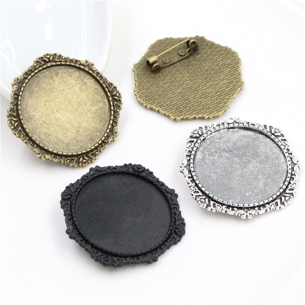 5pcs/lot 30mm Inner Size Black And Antique Silver Plated And Bronze Colors Plated Brooch Pin Flower Style Cabochon Base Setting