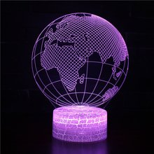 Globe Series Acrylic Panel Design 3D LED Night Light illusion Table Desk Lamp Christmas Gift for Child Kids Home Decor christmas santa claus night light 3d visual acrylic led desk lamp led christmas decorations for home lights kids new year gift
