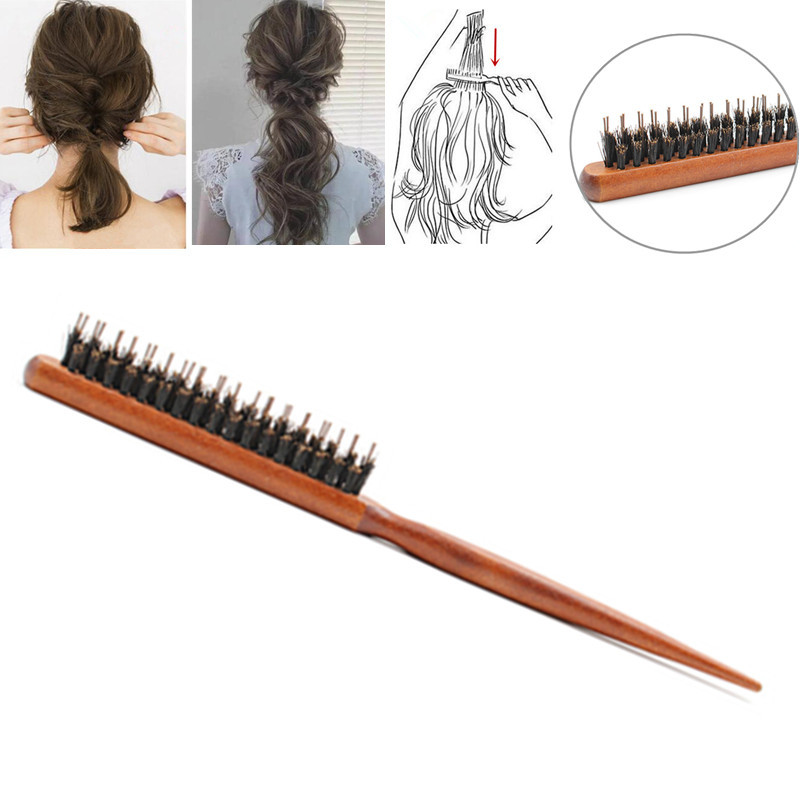1PCS Hair Brushes Wood Three-row Back Slim Line Comb Fluffy Hair Hairbrush Professional Salon Hairdressing Styling Tools