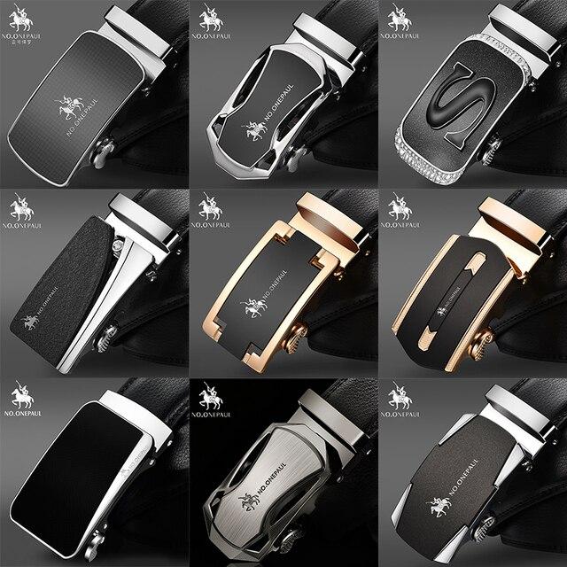 Fashion Automatic Buckle Black Genuine Cow Leather Belts for Men 3.5cm Width WQE789 4