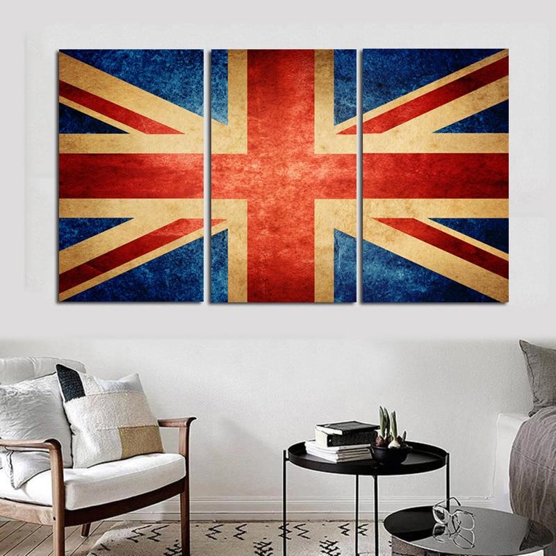 2419 49 De Descuentohd 3 Piezas Lienzo Pintura Union Jack Reino Unido Pintura Con Diseño De Bandera Carteles E Impresiones Arte De Pared Cuadros