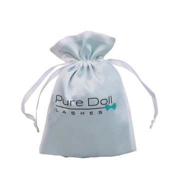Satin Gift Bags Double Layer Drawstring Pouch Packaging Jewelry Cosmetic Makeup Sachet Wedding Party Gift Storage Bag Print Logo