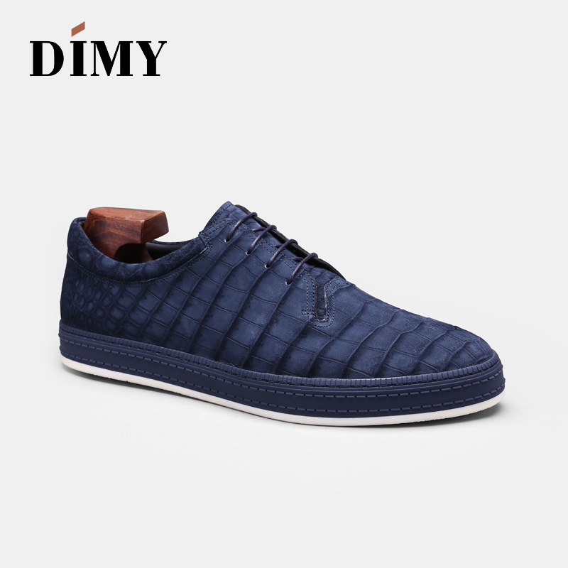 DIMY 2019 Handmade Custom Goodyear High-end Crocodile Shoes Men's Formal Business Tie With Wild Pointed Casual Shoes Tide
