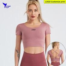 Shirts Underwear Sports-Crop-Top Fitness Quick-Dry Running Gym Yoga Women Padded Short-Sleeve
