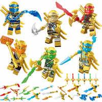 Nowy 6 sztuk/zestaw Gold Ninjagoed figurki klocki kompatybilne z klocki zabawkowe zabawki edukacyjne dla dzieci