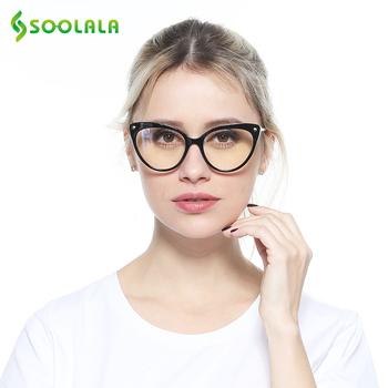 SOOLALA TR90 kocie oko blokujące niebieskie światło okulary do czytania kobiety Cateye Reader okulary do czytania dla wzroku okulary do czytania tanie i dobre opinie WOMEN Jasne CN (pochodzenie) Gradient 17-659 4 3cm Z poliwęglanu 5 3cm Z tworzywa sztucznego Presbyopia Reading Glasses
