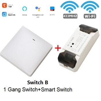 WiFi RF DIY Wifi Smart Switch Tuya Smart Breaker Wireless Switch Controller Light RF 433Mhz Wall DIY Relay Timer 12