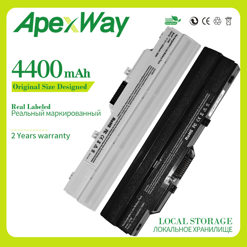 Apexway 4400 mAh 11.1v laptop battery BTY-S11 BTY-S12 for msi Wind U90 U100 U100X U210 for LG X110 for Akoya Mini E1210(China)