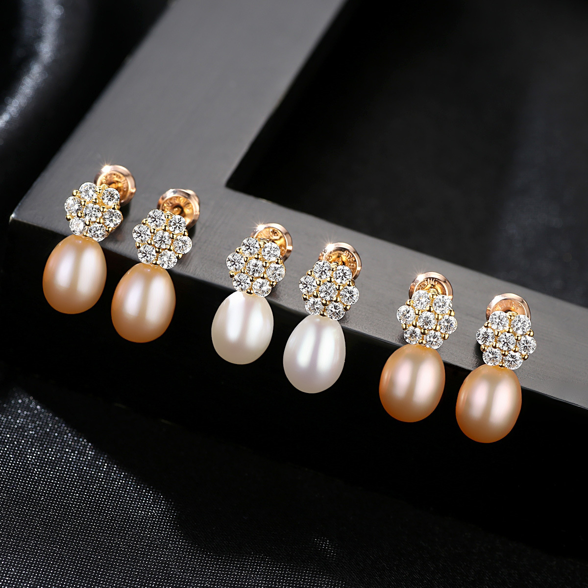 YUEYIN Sterling Silver Earrings 18K Gold Plated Real Nature Pearl for Women Flower Charming Wedding Party