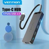 Vention-estación de acoplamiento USB tipo C a USB 3,0, HUB Multi USB C, 4 puertos para Xiaomi MacBook Pro Air, Accesorios de ordenador tipo C