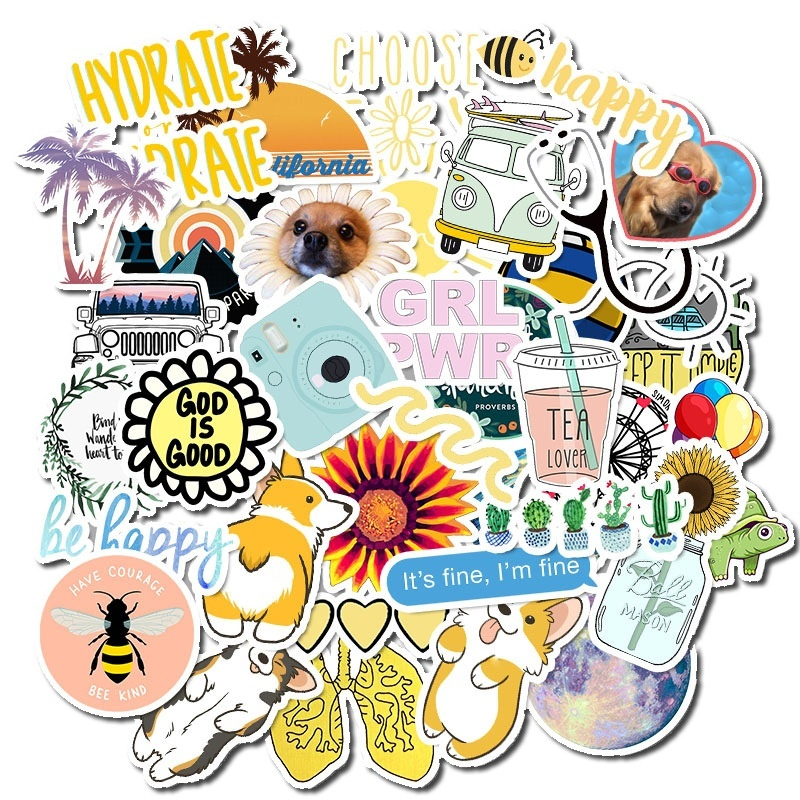 50Pcs/pack Fresh Summer Graffiti Sticker Pack For Moto Car & Suitcase Cool Laptop Stickers Skateboard Stationery Sticker