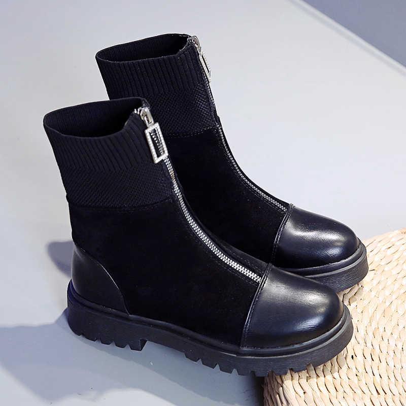 """Ernestnm Mắt Cá Chân Giày Nữ Dây Kéo Thời Trang Đen Thoải Mái Da PU Co Giãn Vải Giày Nữ Mùa Thu Botas Mujer """"Invierno"""