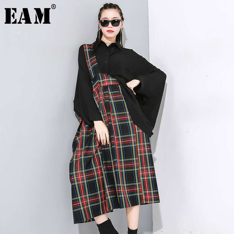 [EAM] Women Red Plaid Split Joint Pleated Strapless Dress New Sleeveless Loose Fit Fashion Tide Spring Autumn 2020 1N188