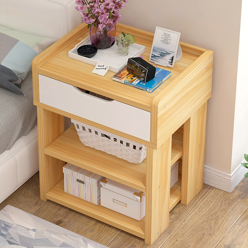 Nordic Wooden Nightstand Storage cabinet With drawer Organizer Detachable Assembly Bedside Small table bedroom fashion furniture