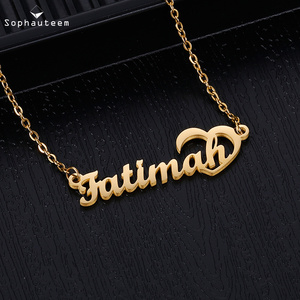 Fashion Custom Name Pendant Necklace, Letter Pendant Heart-shap Nameplate Necklace for Women Stainless Steel Birthday Gift