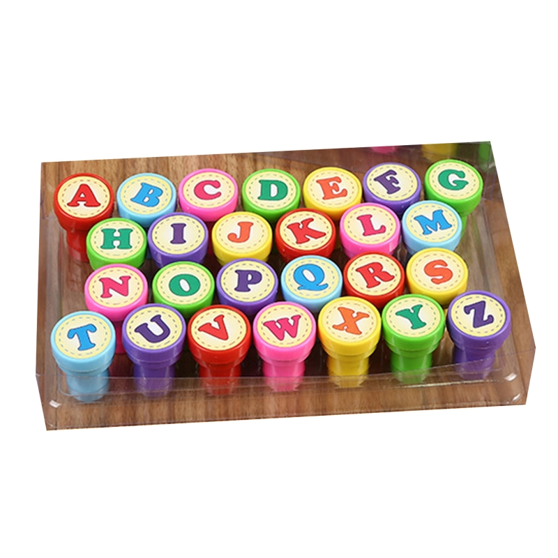 26 Pcs Alphabets Letters Round Stamp Seal Children Gifts Toys Self Inking Scrapbooking Plate Ink Pads Stamper