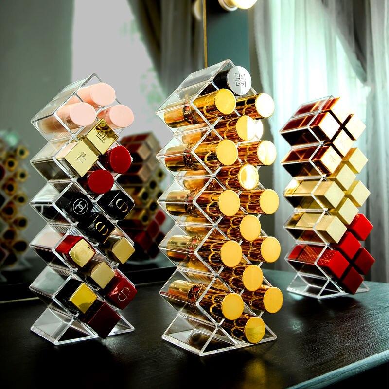 26 grades caixa de armazenamento batom transparente acrílico maquiagem organizador prateleira cosméticos desktop penteadeira do banheiro uso