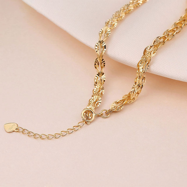 Glitzy Sparkling 18K True Solid Genuine Gold AU750 Yellow Phoenix Tail Chain Bracelet for Women Girl Party Fine Upscale Jewelry 3