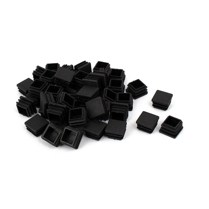 Chair Leg Plastic Blanking End Cap Square Tube Insert Black 20mmx20mm 50pcs