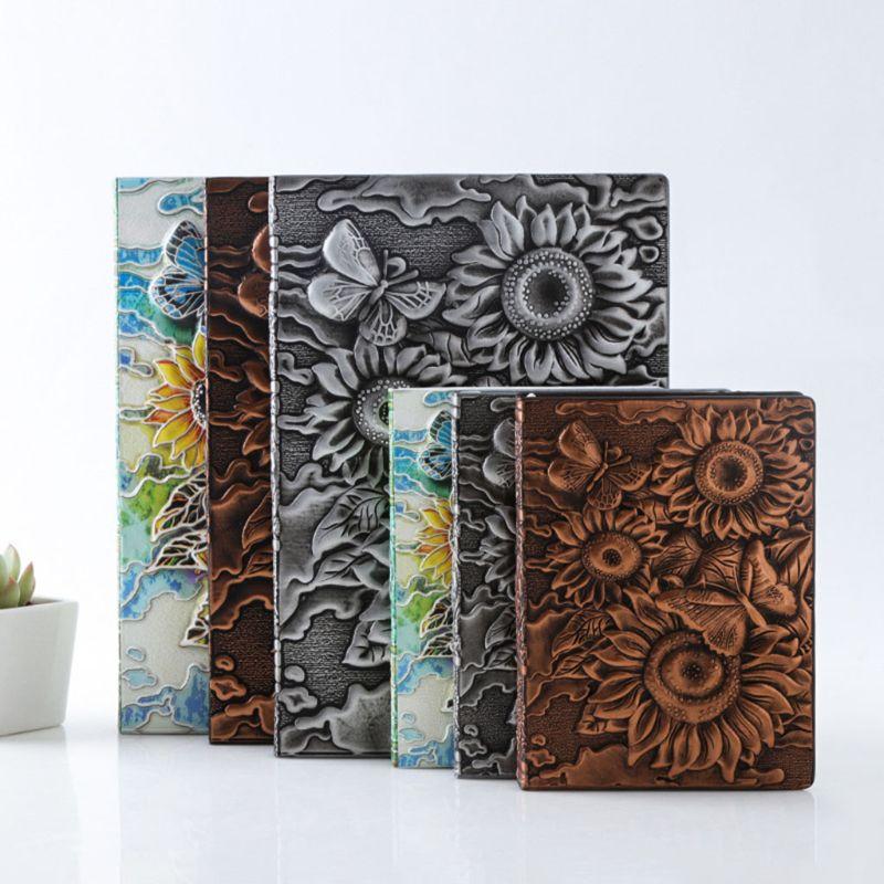 3D Sunflower Embossed Notebook Journal Notepad Travel Diary Planner Business School Office Supplies