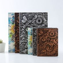 3D Sunflower Embossed Notebook Journal Notepad Travel Diary Planner Business School Office Supplies 48k leather notebook notepad business planner notebook diary journal note book for office school stationery supplies gifts