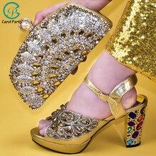 أحذية للسيدات والحقائب الإيطالية لمطابقة مجموعة مزينة يزين أحذية السيدات مع الكعب النيجيري النساء أحذية الزفاف مضخات