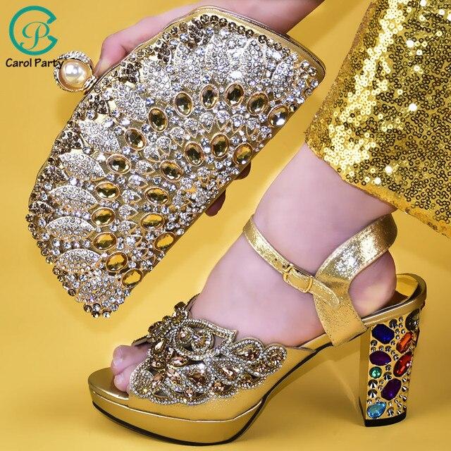 Senhoras sapatos e bolsas italianos para combinar conjunto decorado com apliques senhoras sapatos com saltos nigerianos sapatos de casamento feminino bombas