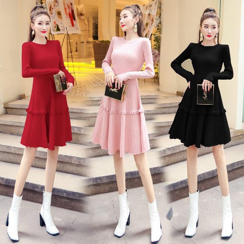 Frilled Jersey Dress Women's 2019 Autumn And Winter New Style Sweet Online Celebrity Cake Dress Waist Hugging Sweater Dress Brig