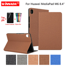 For Huawei MediaPad M6 8.4 case linen grain PU leather Stand Protective Case TPU Cover for Huawei tablet M6 8.4 inch Coque for huawei 10 1 inch tablet fashion stand protective case for huawei mediapad 10 fhd link pu leather cover