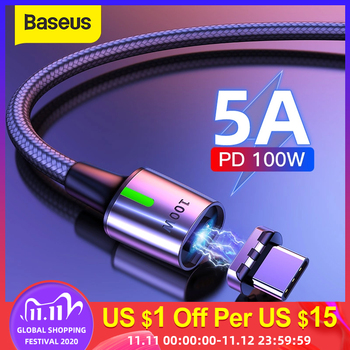 Baseus 5A Magnetic USB C Cable Type C to Type C 100W Magnet Cable Data Charge Type C Mobile Phone Cable Fast Charger USB Cord