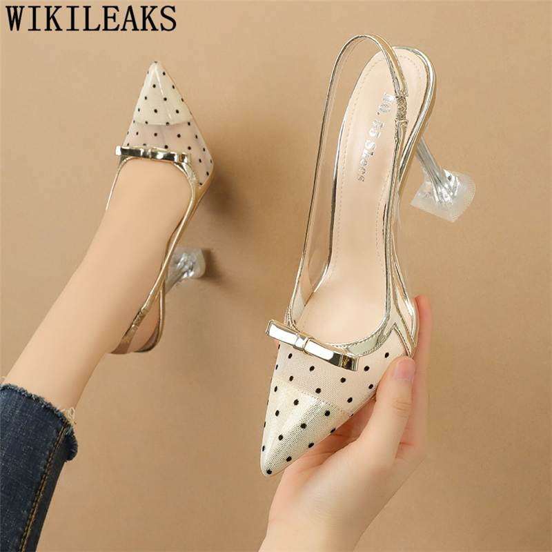 Slingback Shoes Clear Heels For Women Dress Shoes Womens Fetish High Heels Sexy Fashion Summer Shoes Woman Designer Heels 2021