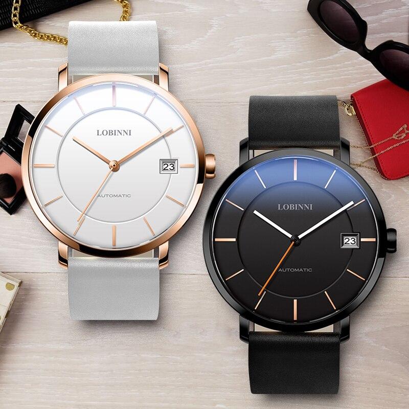 LOBINNI Couples Watches Luxury Switzerland Brand Automatic Self-Wind Mechanical Movement Lovers Watch Gift Woman Man Waterproof