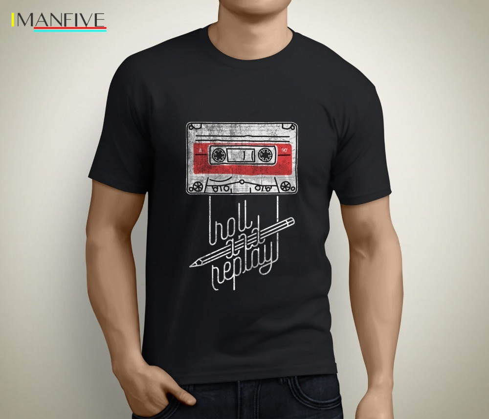 Roll and Replay Music Cassette Audio Vintage MenS Black Newest O-Neck Cotton Short Sleeve Comfortable T-Shirt Homme Tee