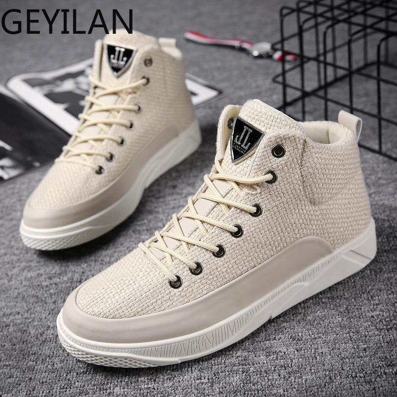 Мужские кроссовки с высоким берцем, верх из пеньки, дышащая обувь черного и белого цвета, модная брендовая обувь, мужская повседневная обувь - 3