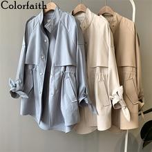 Colorfaith New 2020 Autumn Winter Women's Cargo Windbreaker Drawstring Vintage Pockets Outerwear Oversize Trench Tops JK0241