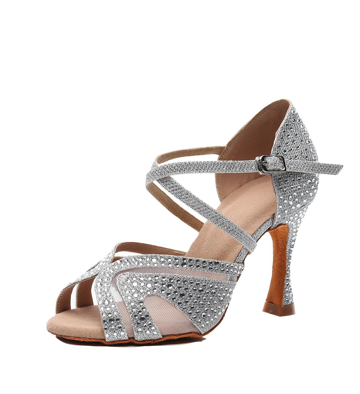 Ballroom Outdoor Salsa Tango Rubber Dance Shoe Ladies Social Women Latin Dancing Shoes Heel Rhinestone Grey