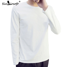 New Arrival Mens Soild T-shirt 4 Basic Colors Long Sleeve Slim Fit T Shirt Young Men Pure Color Tees O-neck Free Shipping