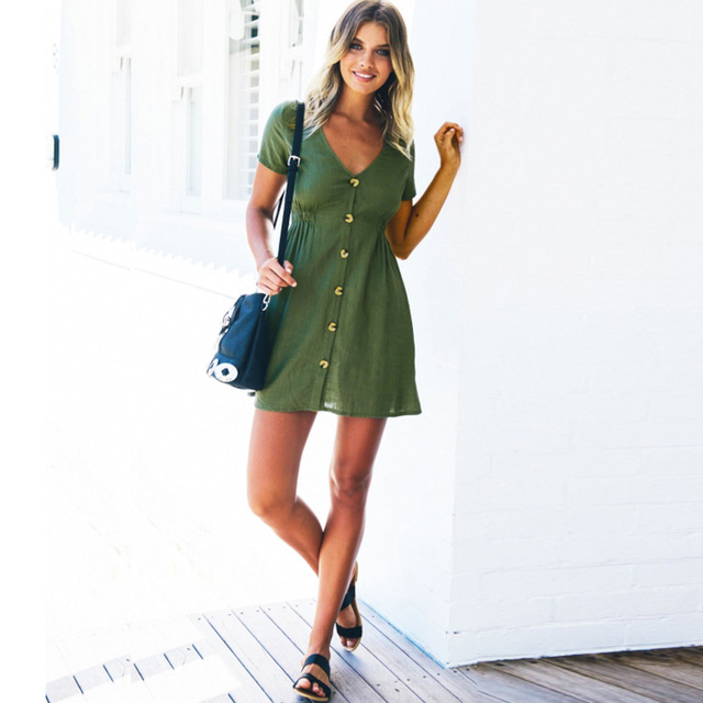 Женское платье 2021 весна/лето Однотонная одежда однорядные