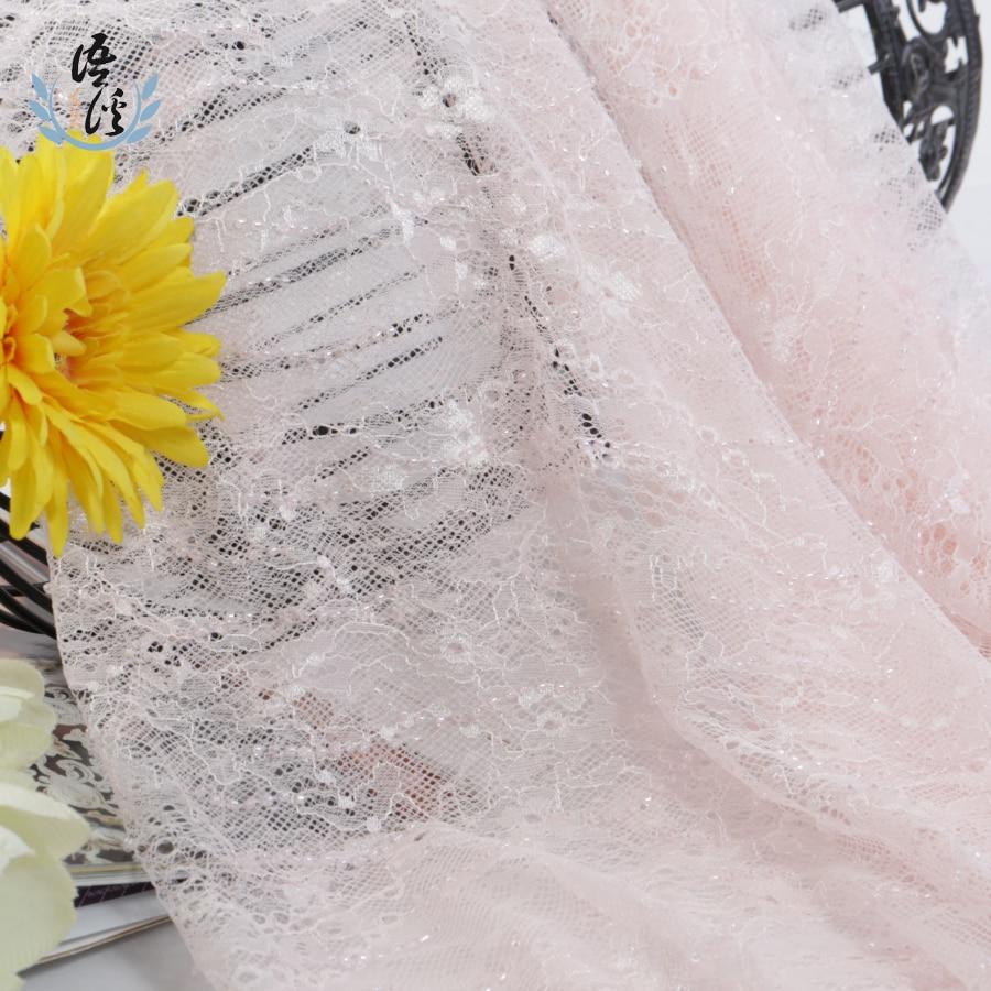 5 Yards Pink Dress Lace Nail-bead Rice Bead Embroidery Cloth Wedding Dress Embroidery Bead Embroidery Lace Fabric
