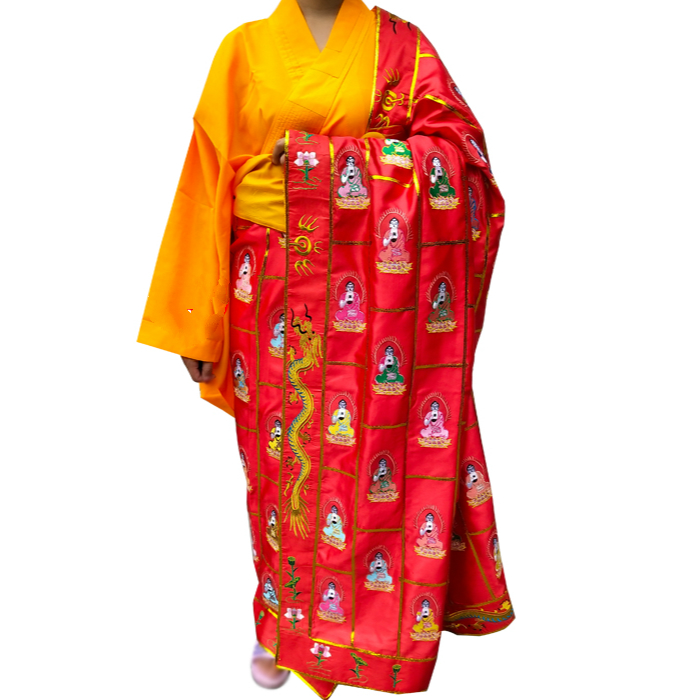 Буддийский монах мантия Zen медитация монах мантия шаолин монах одежда кунг фу Униформа Костюмы Костюм Моха халаты двойная вышивка