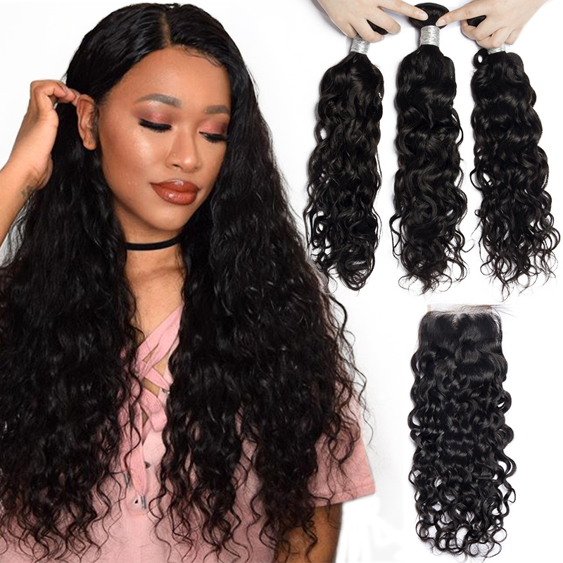 Alibele Hair Brazilian Water Wave Bundles With Closure 100 Remy Human Hair Bundles With Closure Remy Hair 3 Bundles With Closure