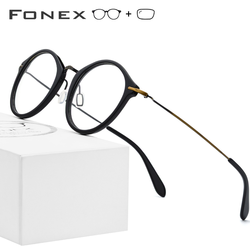 Elastic B Titanium Optical Glasses Frame Women Vintage Round Prescription Eyeglasses Men Retro Myopia Acetate Spectacles Eyewear