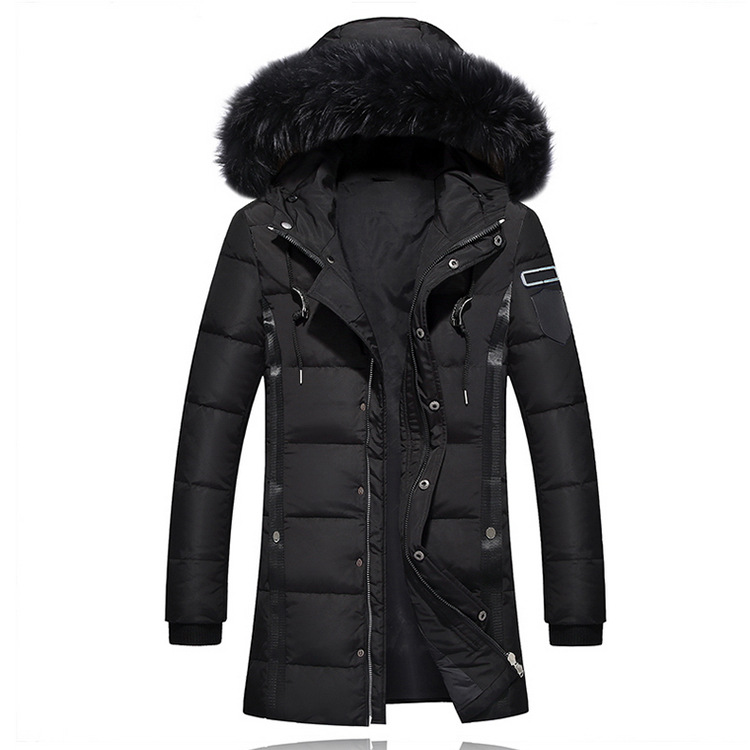 Winter Men Thick Fur Designer Coats Warm Windbreaker Hooed Long Solid Down Jackets 1