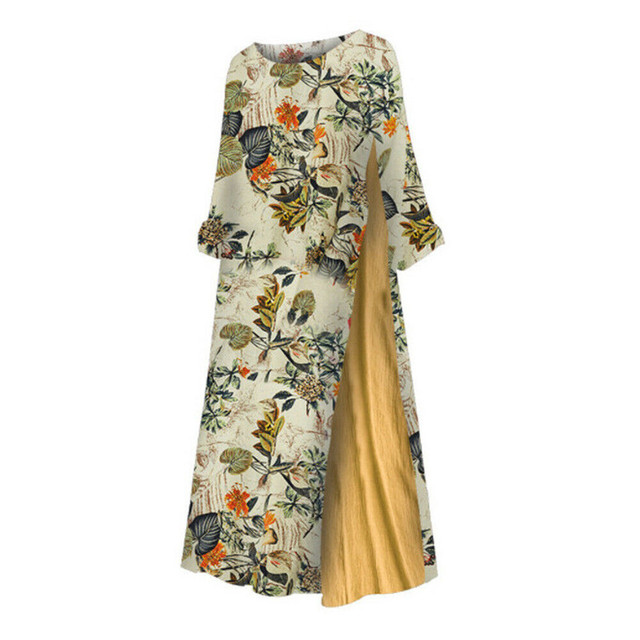Womens Maxi Beach Dress 2019 Summer Half Sleeve Casual Boho Kaftan Tunic Gypsy Ethnic Style Floral Print Plus Size Dresses S-5XL 5